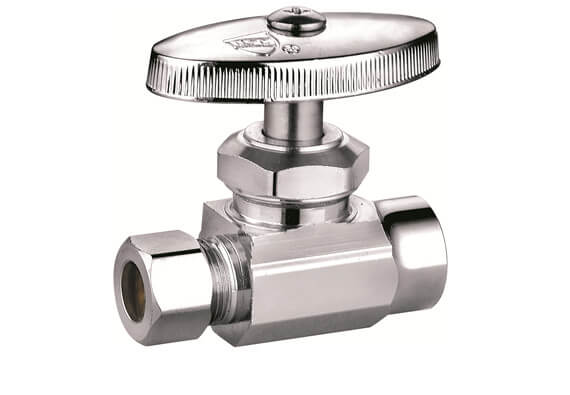 Multi turn angle valve, supply stops, dual outlet shut off valve