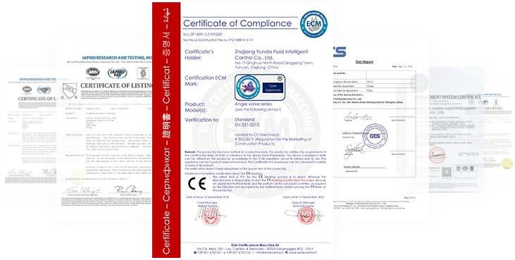 Angle valve certifications