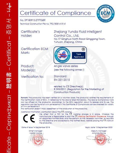 Chrome Angle Valve CE Certification