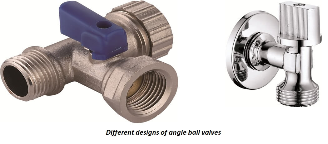 Different designs of angle ball valves