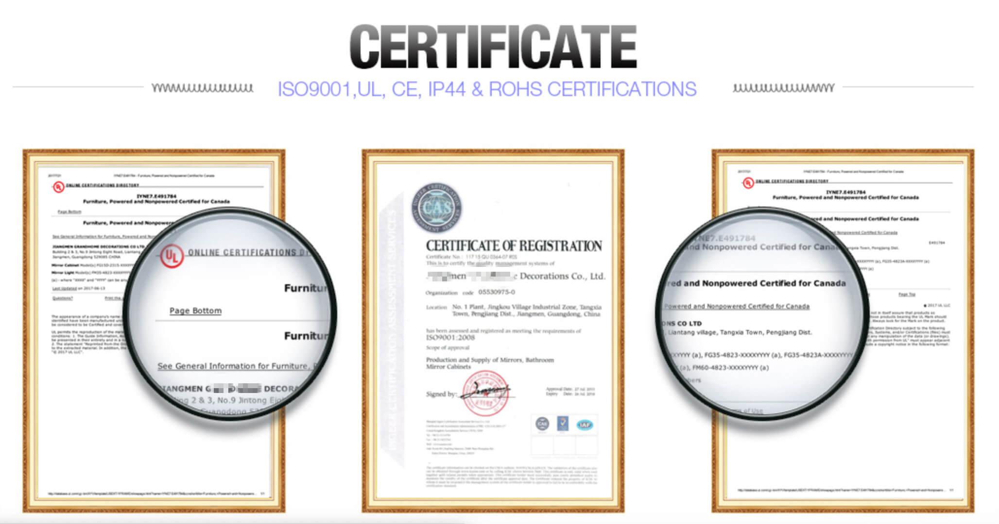 Wall Mirror Manufacturer certifications