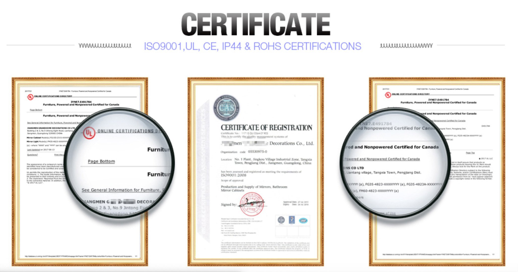 Framed Mirror Manufacturers CERTIFICATIONS