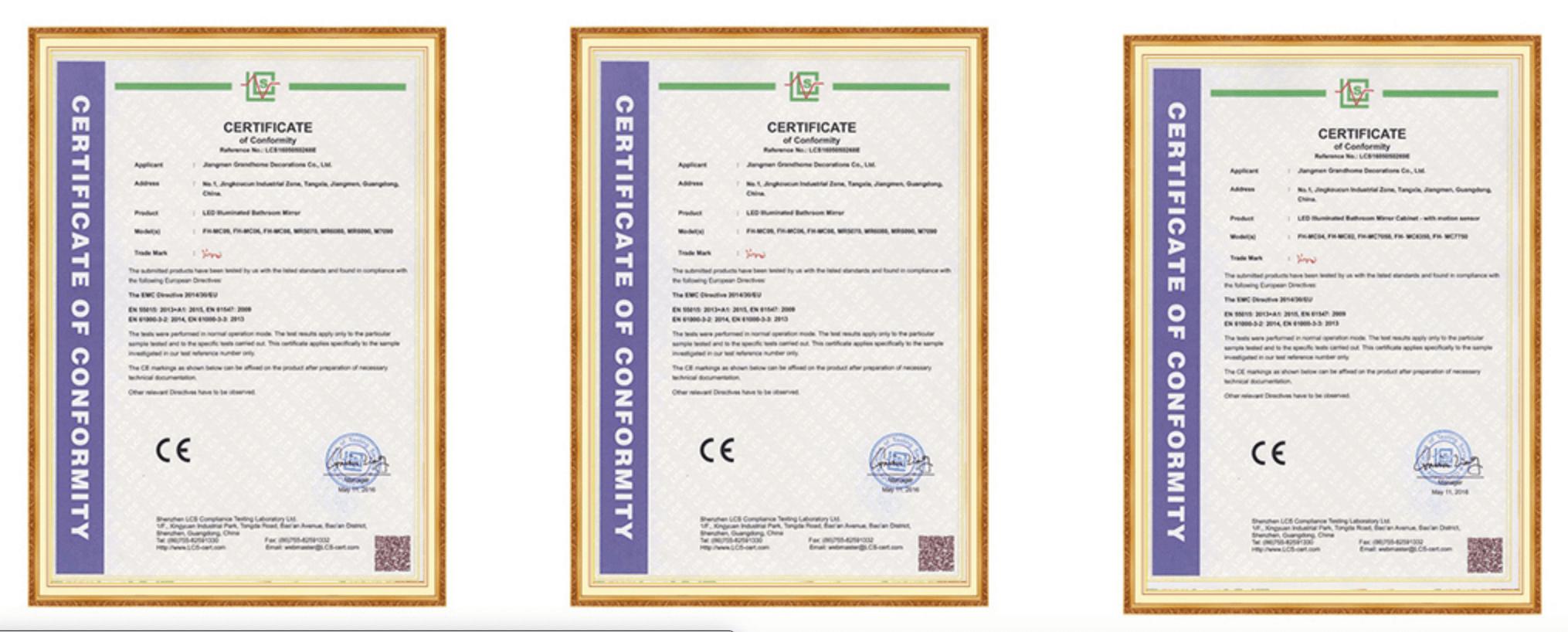 Custom Mirror Manufacturers certifications