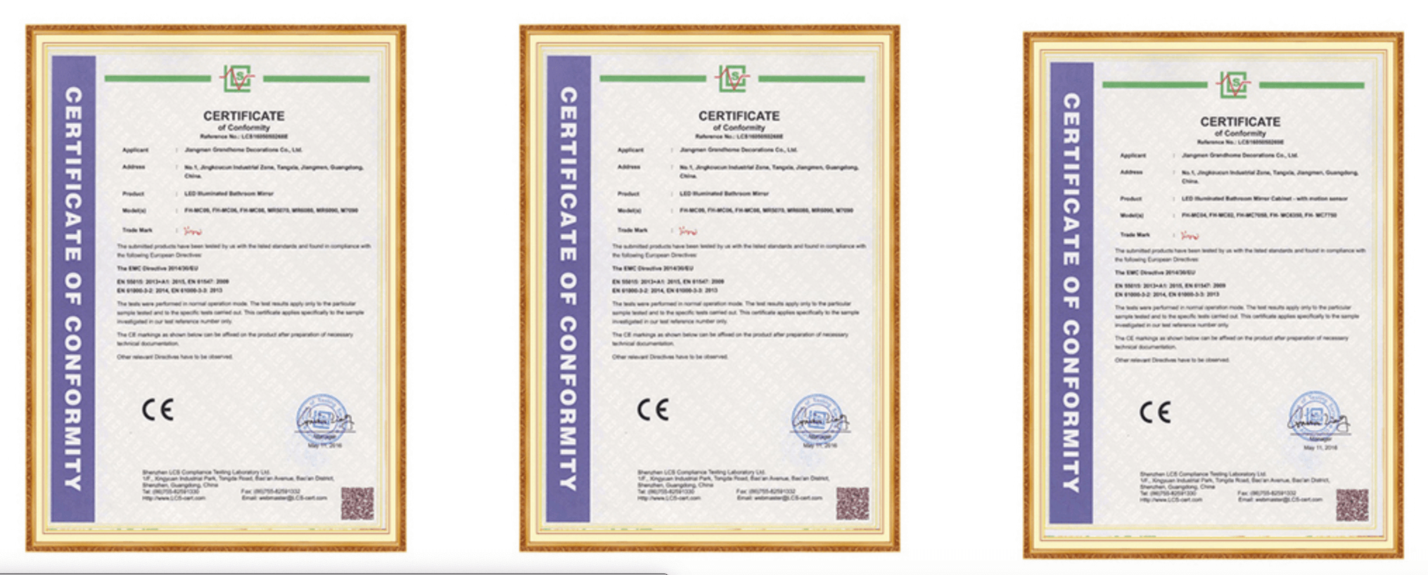 Framed Mirror Manufacturers CERTIFICATIONGS