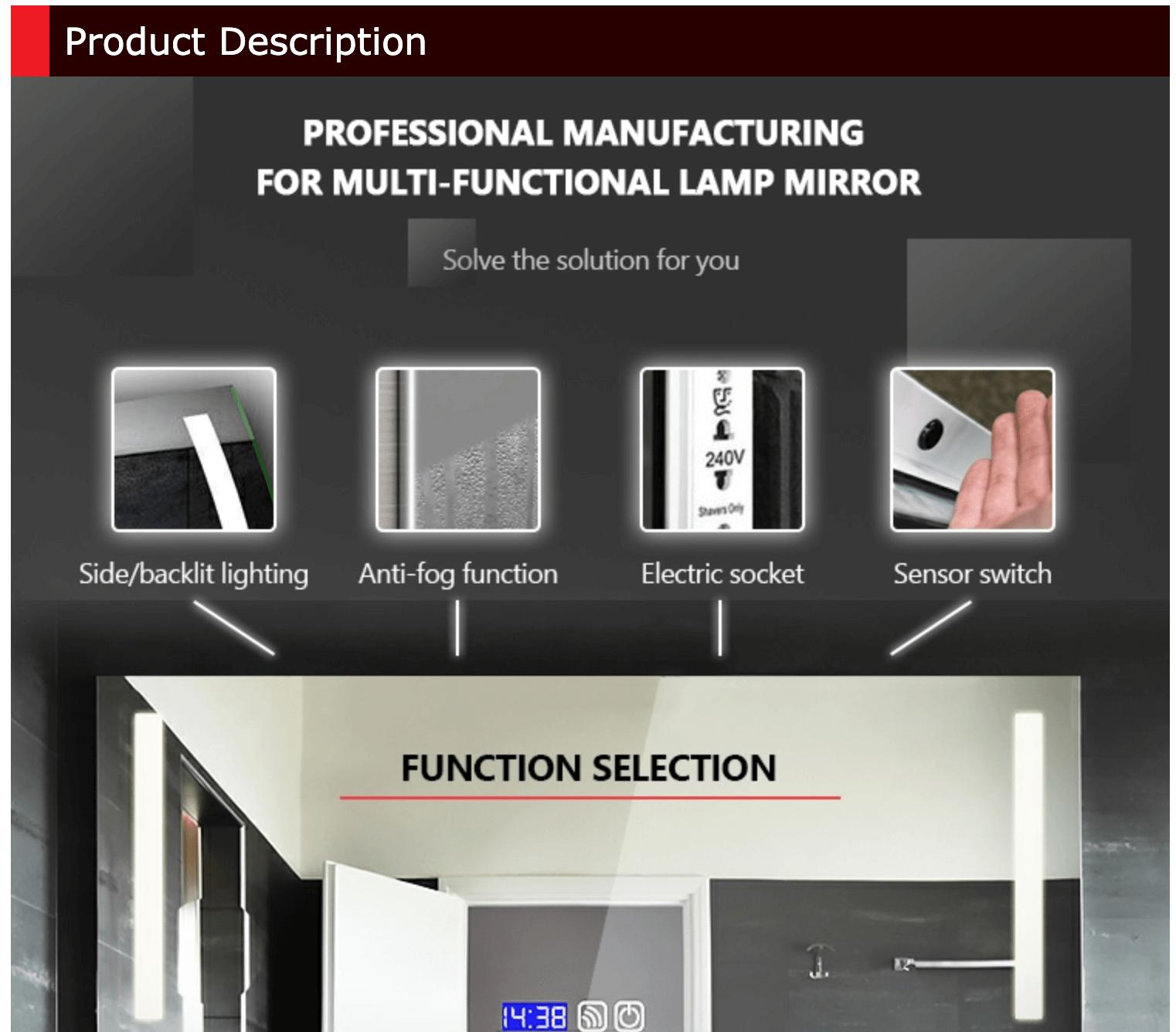 LED backlit mirror with border