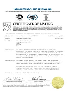 angle valve manufacturers certifications