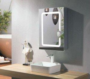 lighted bathroom wall mirror